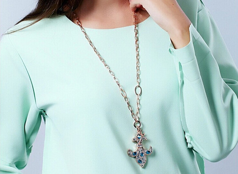Ocean Blue Bohemia Anchor-shaped Swarovski Crystal Sweater Chain - DearyBox | Jewellery On-line Boutique Shop | DearyBox.co.uk | Swarovski Crystal Necklaces | Scoop.it