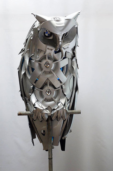 Artist Recycles Old Hubcaps Into Stunning Animal Sculptures | creativity & technology | Scoop.it