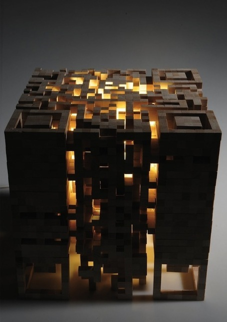 Light Up QR Code Stool Created From Wood | QR Code Art | Scoop.it