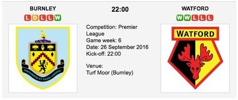 Burnley vs. Watford: Match preview & Tips - 26/09/2016 EPL | ukbettips.co.uk | Scoop.it