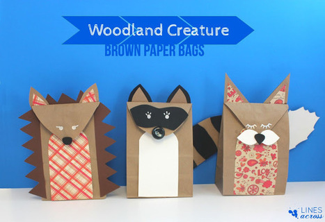 """Lines Across"": Woodland Creature Brown Paper Bags (and a Giveaway) 