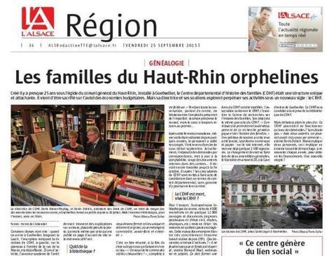 Article du jour (184) : Fermeture du CDHF – L'Alsace le 25.09.2015 | Cercle Genealogique de Maisons-Alfort | Au hasard | Scoop.it