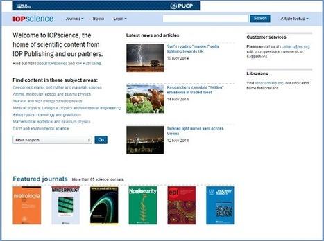 Sistema de Bibliotecas PUCP » Compra del archivo retrospectivo de IOP Publishing | University | Scoop.it