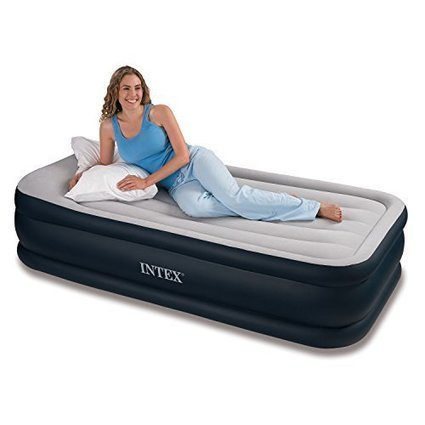 """Intex Deluxe Pillow Rest Raised Airbed with Soft Flocked Top for Comfort, Built-in Pillow and Electric Pump, Twin, Bed Height 16 3/4"""" - Lighthouse Deals 