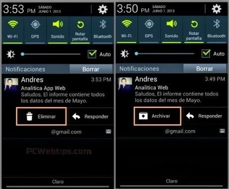 Gmail para Android: Eliminar en lugar del archivar - Notificaciones PCWebtips.com   Android - Aplicaciones y Tips   Scoop.it