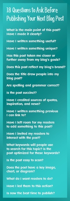 18 Questions to Ask Before Publishing Your Next Blog Post | The Joys of Blogging | Scoop.it