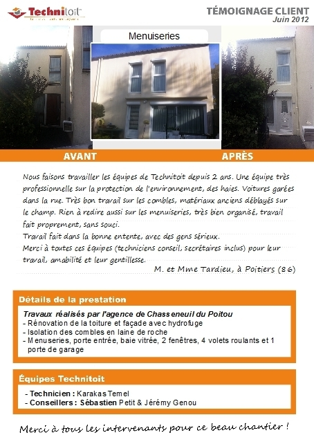 [témoignage] Travaux rénovation façade, toitures, menuiseries et isolation combles à Poitiers (86) | Témoignages Clients Technitoit | Scoop.it