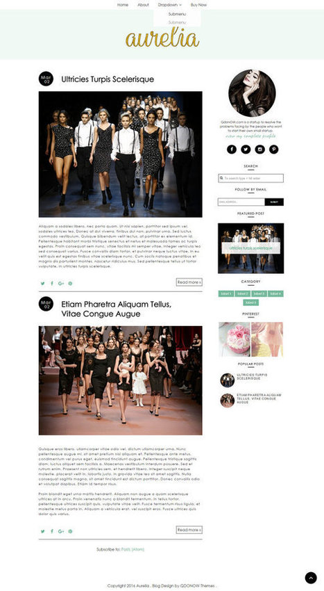 Premade Blogger Templates  Responsive Blog Template Blogger Theme Fashion Blogger Template - Aurelia ( Free Installation ) by QDONOW | Blogger themes | Scoop.it