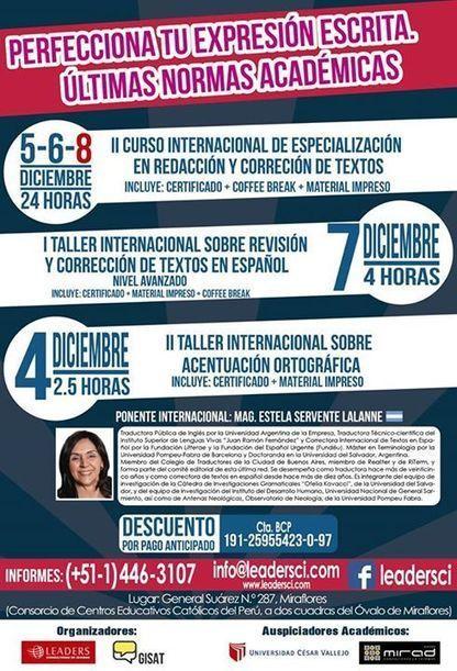 2015-12-5/6/7 II Curso Internacional de Especialización en Redacción y Corrección de Textos. | Traducción en Perú: eventos, noticias, talleres | Scoop.it
