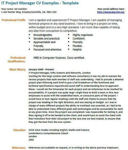 project manager cv example icover org uk