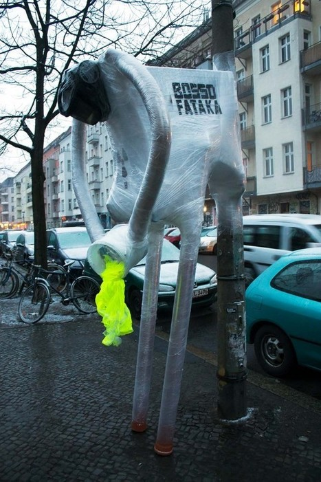 """The """"Nuclear Man"""" installation by Berlin based Street Art collective Bosso Fataka 