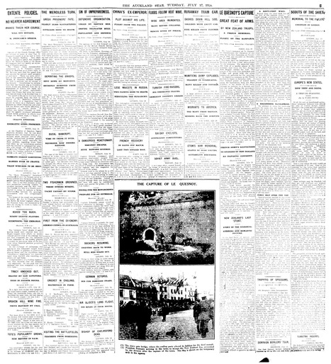 Papers Past — Auckland Star — 17 July 1923 — Page 5   World War 1 - Year 11 resources   Scoop.it