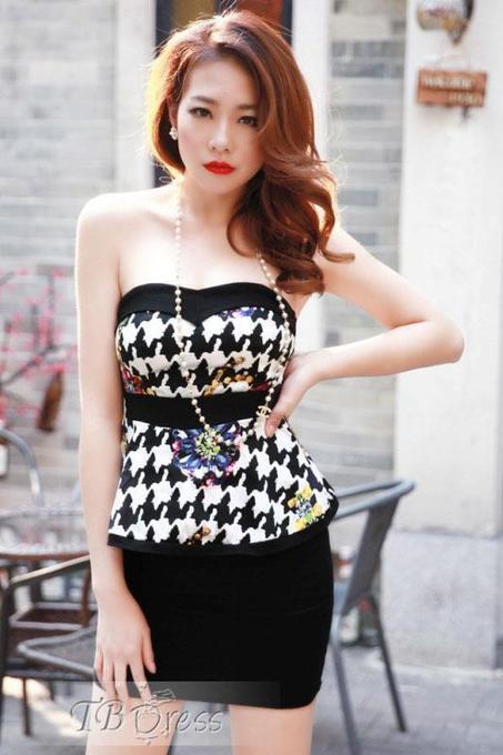 Handsome Color Block Split Joint Strapless Sheath Falbala Night Club Sexy Dress | beauty girl | Scoop.it