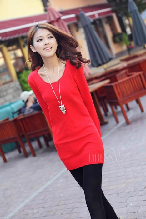 Solid Color Round Collar Long Sleeve Sweater Dress | Dressve fashion | Scoop.it