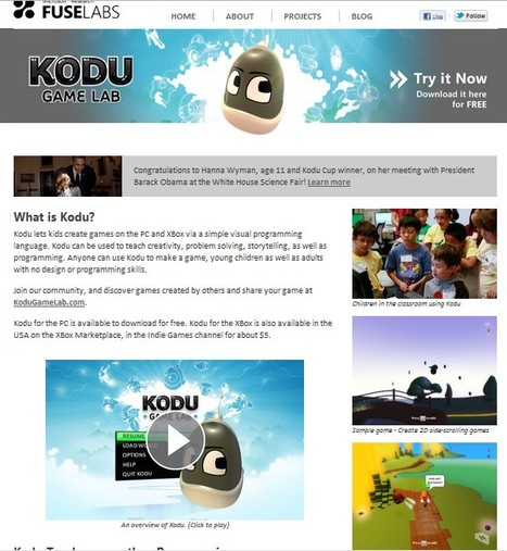 Microsoft Research FUSE Labs - Kodu Game Lab | 21st Century Tools for Teaching-People and Learners | Scoop.it