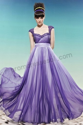Purple Lace Cap-sleeve Tencel A-line Formal Prom Dress WL988 | 2013 new fashion prom dresses | Scoop.it