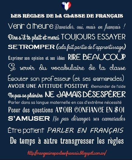 Les règles de la classe de français   French choses   Scoop.it