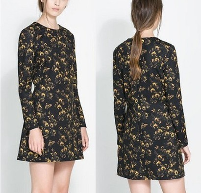 Black Long Sleeve Yellow Floral Straight Dress from yourfashionsandcute | bebpiloo | Scoop.it
