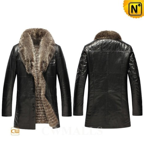 CWMALLS® Raccoon Fur Leather Jacket CW855580 | Leather Trench Coat | Scoop.it