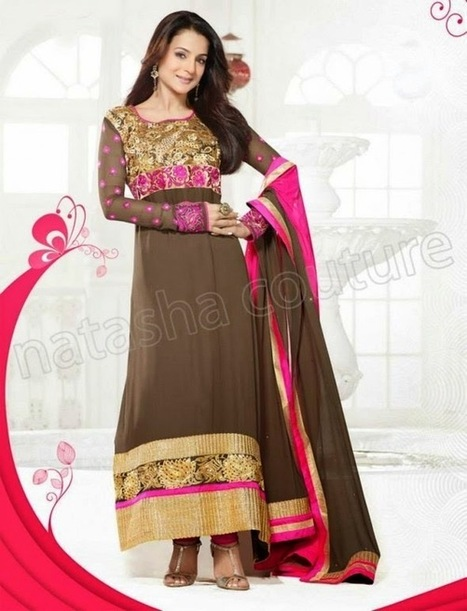 Latest And Stylish Churidar Suits With Amisha Patel From Summer 2014 By Natasha Couture | Women Fashion | Women fashion | Scoop.it