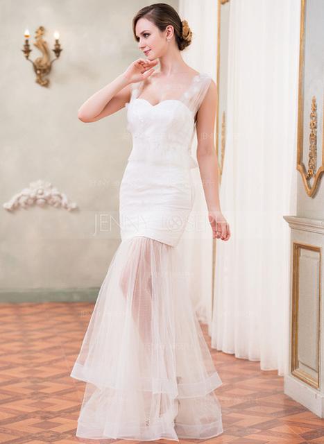 [€ 157.51] A sirena/Stile sirena A cuore A terra Tyll Pizzo Abito per matrimonio con Increspature Perline Fiori (002050419)   wedding dress   Scoop.it