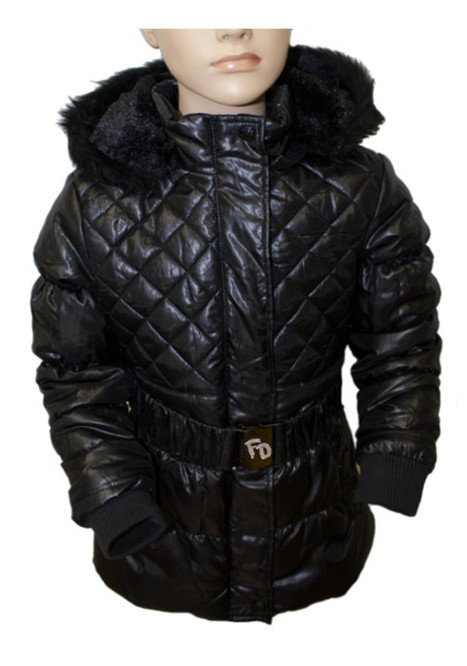 Funky Diva' Girls Quilted Padded Jacket with Fur Hood and Buckle Belt | wholesale fashion by QclothingUK | Scoop.it