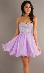 Unusual Purple Beaded One Strap Sleeveless A-line Short Organza Cocktail Prom Dress | Evening Dress | Scoop.it