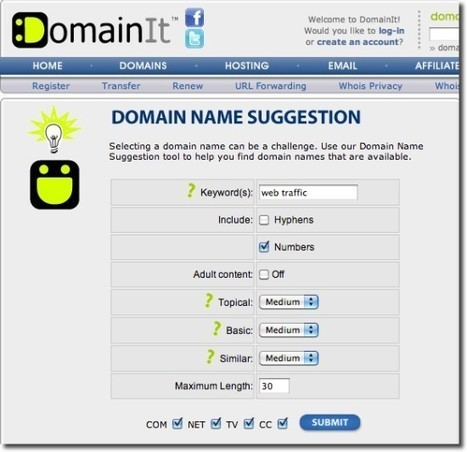 Top 10 Domain Name Suggestion Tools to Create a Catchy Domain Name | digital marketing strategy | Scoop.it