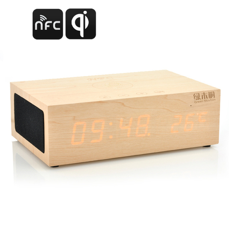 QiBox NFC Wireless Qi Charging Wooden LED Clock with Bluetooth Speakers, Thermometer | cool electronics gadgets | Scoop.it