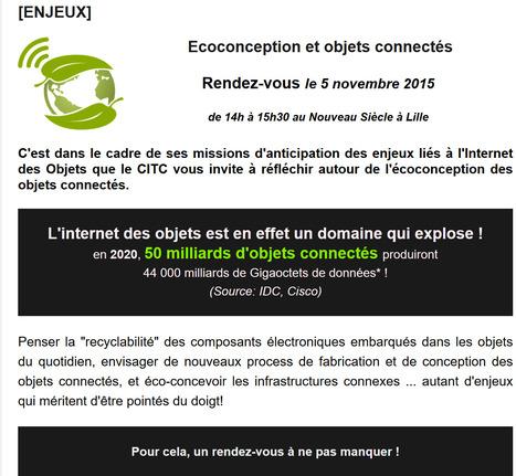 [Anticipation & Enjeux] OBJETS CONNECTÉS ET ÉCOCONCEPTION - Les rendez-vous du CITC   Internet du Futur   Scoop.it
