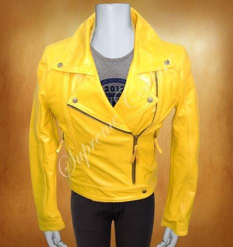 Suzy Yellow Women Leather Stylish Jacket | WOMEN JACKETS | Scoop.it