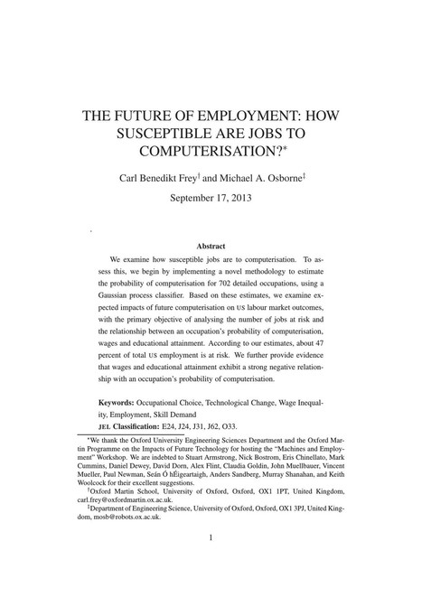 The Future of Employment: How susceptible are jobs to computerisation? | Cognitive Science - Artificial Intelligence | Scoop.it