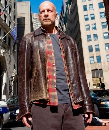 Surrogates Leather Jacket | Brown Distressed Leather Bruce Wills Surrogates costume | Scoop.it