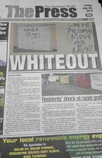 County Durham Patriots: 'White people move out' – Shocking racist graffiti daubed on homes in West Yorkshire | The Indigenous Uprising of the British Isles | Scoop.it