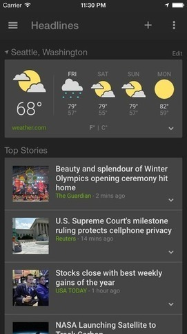 Google Releases A Brand New App For iOS: News & Weather | MarketingHits | Scoop.it