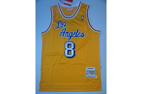 Kobe Bryant La Lakers #8 Throwback Swingman NBA Jersey (Yellow) Mens | new style | Scoop.it