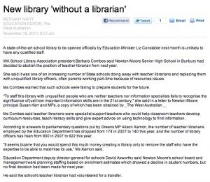 Tip of the iceberg hits the press in WA | SchoolLibrariesTeacherLibrarians | Scoop.it