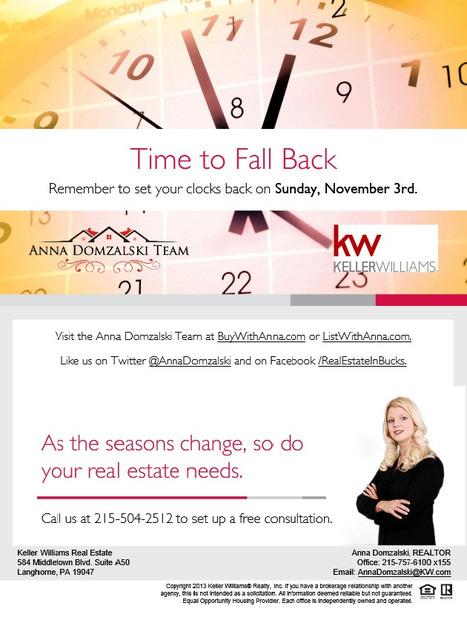 Time to Turn Those Clocks Back - Sunday, November 3, 2013!   Bucks County Area Real Estate News   Scoop.it