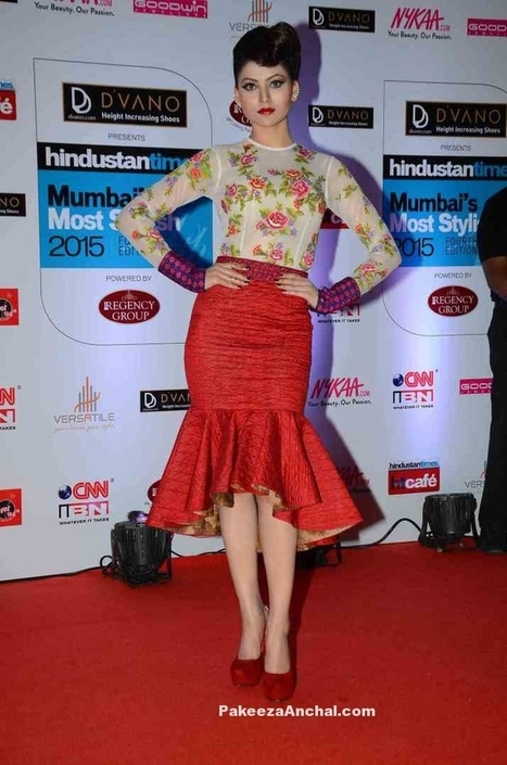 Urvashi Rautela in Neha Agarwal's Red Peplum Skirt and Floral Sheer Top | Indian Fashion Updates | Scoop.it