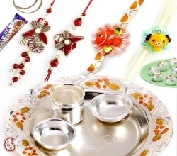 Silver plated shagun thali with sweets Rs 2702 FNP_INT_RTH02 Cheap Economy Rakhi Indiangiftguru | Send Rakhi Gifts Online | Scoop.it