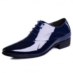 Shiny tuxedo wedding shoes increase height 6cm / 2.36inch blue pointy toe taller formal shoes on sale at topoutshoes.com | Elevator Casual shoes men height increasing Taller | Scoop.it