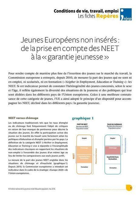 Jeunes Européens non insérés : de la prise en compte des NEET à la « garantie jeunesse » | Injep | Culture Mission Locale | Scoop.it