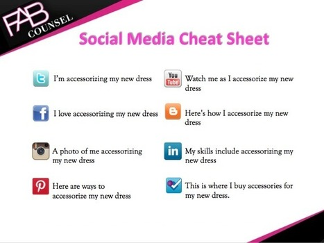 Social Media Cheat Sheet - Retail Consulting | Brand Consulting | Fashion Social Media | FAB Counsel | Social Media Article Sharing | Scoop.it