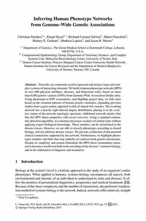 Inferring Human Phenotype Networks from Genome-Wide Genetic Associations - Springer | Systems biology and bioinformatics | Scoop.it