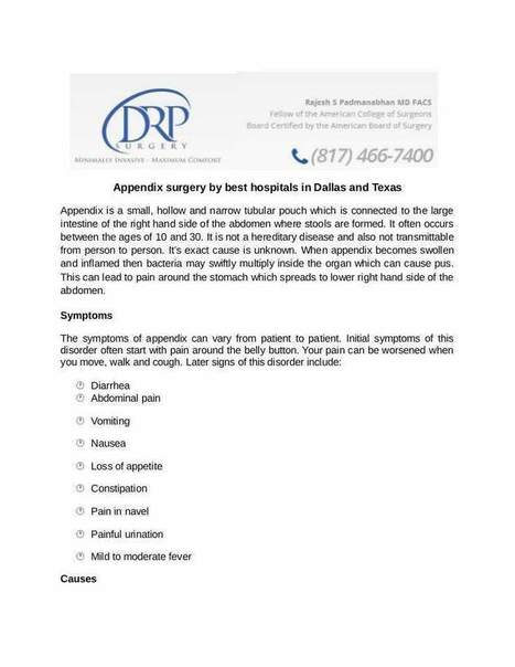 Appendix surgery by best hospitals in Dallas and Texas | Drpsurgery | Scoop.it