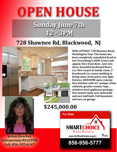 OPEN HOUSE Sunday June 7th 728 Shawnee Rd Wash. Twp NJ SMART Choice Real Estate | SmartChoiceRealEstate | Scoop.it