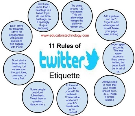 11 Great Twitter Etiquettes Teachers should Know ~ Educational Technology and Mobile Learning | Innovación docente universidad | Scoop.it