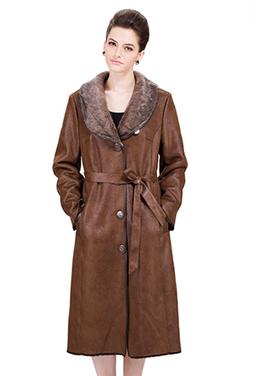 Dark brown suede with faux dark gray mink fur long suede coat | Comfortable faux fur coat fashion | Scoop.it