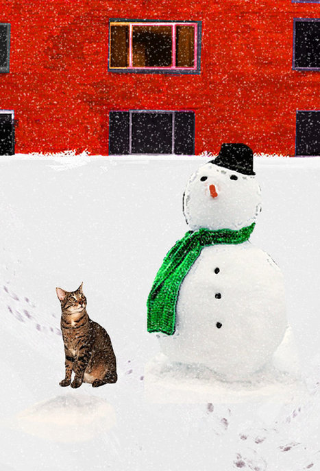 Cat Christmas Card--Cat and Snowman- One Handmade Card | Christmas Cat Ornaments and Cards | Scoop.it