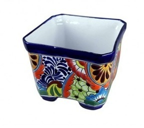 Talavera Square Flower Pot | Talavera Mexican Pottery | Scoop.it